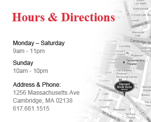 Hours & Directions: Mon-Sat (9am-11pm), Sun (10am-10pm), Address & Phone: 1256 Mass Ave, Cambridge, MA 02138, 617.661.1515